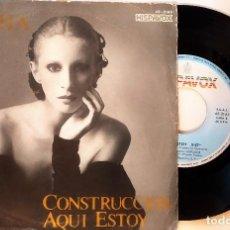 Discos de vinilo: SINGLE NACHA GUEVARA: CONSTRUCCCIÓN-AQUÍ ESTOY, 1981, MUY BUEN ESTADO, HISPAVOX– 45-2145(VG+_VG+). Lote 183664728