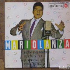 Discos de vinilo: MARIO LANZA. BEGIN THE BEGUINE; NOCHE Y DÍA; O SOLE MÍO; CORE INGRATO. ESPAÑA, 1962. VG+. VG+.. Lote 183679006