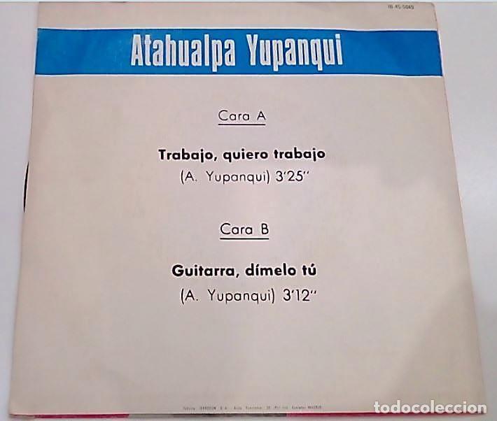 Discos de vinilo: SINGLE ATAGUALPA YUPANQUI - Foto 2 - 183684765