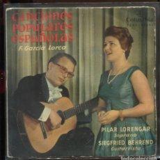 Discos de vinilo: PILAR LORENGAR. SIEGFRIED BEHREND. CANCIONES POPULARES ESPAÑOLAS.FEDERICO GARCÍA LORCA.COLUMBIA 1960. Lote 183691167