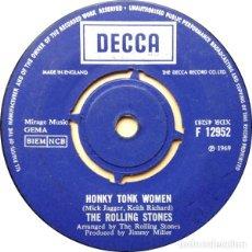 Discos de vinilo: THE ROLLING STONES HONKY TONK WOMEN (SINGLE) . BRIAN JONES KEITH RICHARDS MICK JAGGER. Lote 183697067