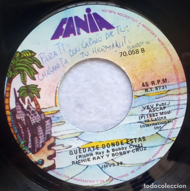 Discos de vinilo: RICARDO REY & BOBBY CRUZ - timoteo / quedate donde estas - SINGLE PERUANO 1982 - FANIA - SALSA - Foto 2 - 183712002
