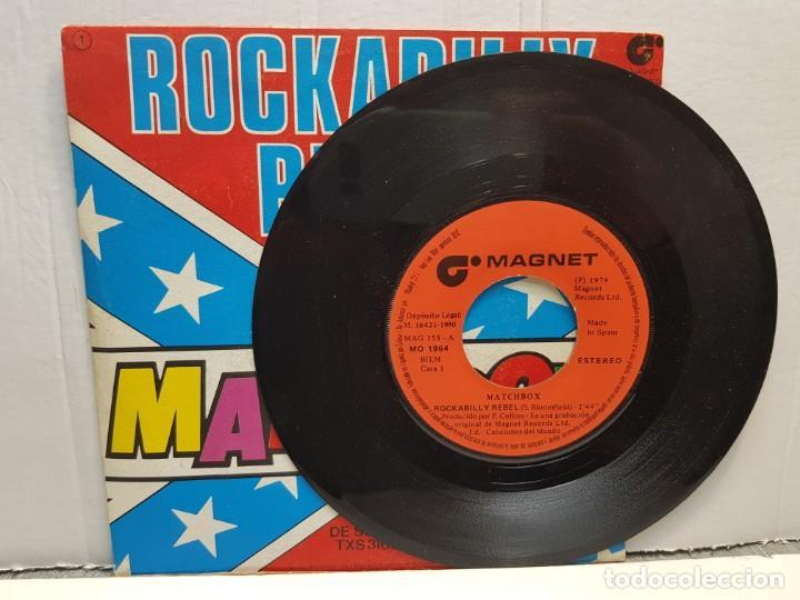 Discos de vinilo: SINGLE-ROCKABILLY REBEL-MATCHBOX en funda original año 1980 - Foto 3 - 183743448