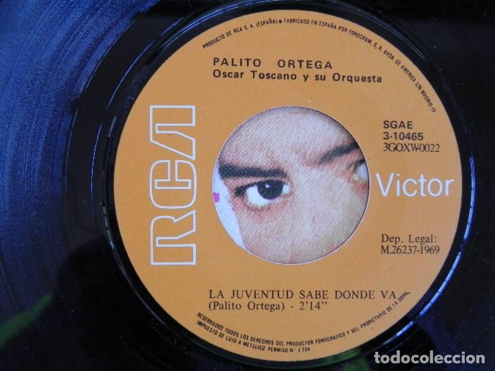 Discos de vinilo: Palito Ortega: Viva la vida / la juventud sabe donde va, Single Victor 3-10465. Spain, 1969. VG+/VG+ - Foto 3 - 183775236