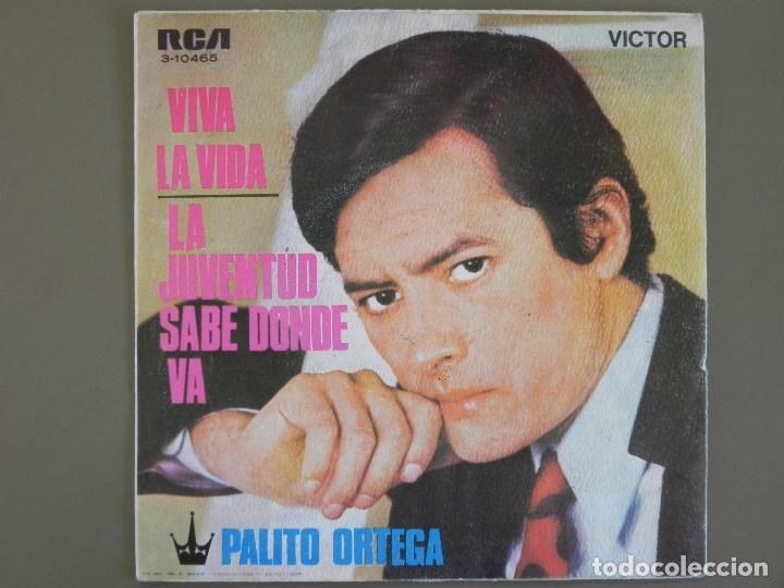 Discos de vinilo: Palito Ortega: Viva la vida / la juventud sabe donde va, Single Victor 3-10465. Spain, 1969. VG+/VG+ - Foto 4 - 183775236