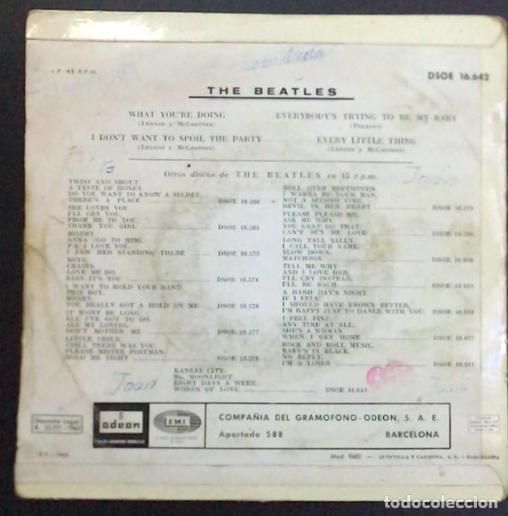 Discos de vinilo: The Beatles – What Youre Doing Odeon  DSOE 16.642 45 RPM, EP Spain 1964 VINILO VG / CARPETA VG - Foto 2 - 183783521