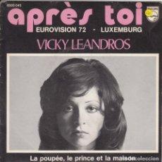 Discos de vinilo: VICKY LEANDROS APRÉS TOI EUROVISION 72 LUXEMBOURG LABEL PHILIPS BELGIUM STAMPA BELGA . Lote 183814271