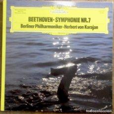 Discos de vinilo: BEETHOVEN. SYMPHONIE NR. 7. BERLINER PHILARMONIKER. KARAJAN. DEUTSCHE GRAMMOPHON. ESPAÑA, 1977.. Lote 183817642