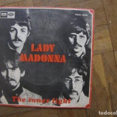 Discos de vinilo: BEATLES. LADY MADONNA; THE INNER LIGHT. ODEON, 7XCE 18438. ESPAÑA, 1968. FUNDA VG+. DISCO VG++. Lote 183831822