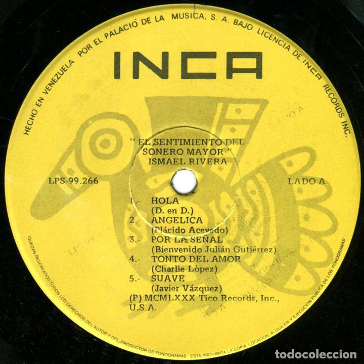 Discos de vinilo: Ismael Rivera – El Sentimiento Del Sonero Mayor - Lp Venezuela 1980 - Tico Records LPS-99266 - Foto 3 - 183868863