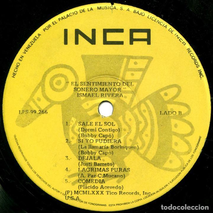 Discos de vinilo: Ismael Rivera – El Sentimiento Del Sonero Mayor - Lp Venezuela 1980 - Tico Records LPS-99266 - Foto 4 - 183868863