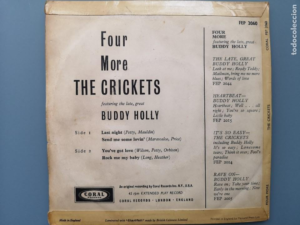 Discos de vinilo: EP BUDDY HOLLY FOUR MORE THE CRICKETS ED INGLESA CORAL RECORDS 1960 FEP 2060 COCHRAN ELVIS VINCENT - Foto 3 - 183897078