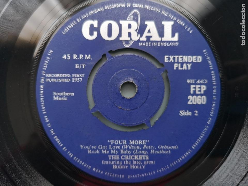 Discos de vinilo: EP BUDDY HOLLY FOUR MORE THE CRICKETS ED INGLESA CORAL RECORDS 1960 FEP 2060 COCHRAN ELVIS VINCENT - Foto 5 - 183897078