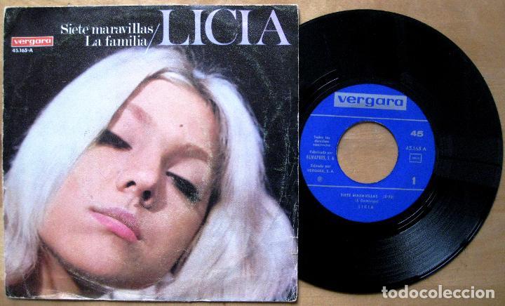 LICIA - SIETE MARAVILLAS / LA FAMILIA - SINGLE VERGARA 1967 BPY BEAT YEYÉ (Música - Discos - Singles Vinilo - Solistas Españoles de los 50 y 60)