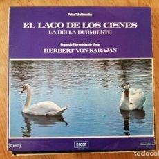 Discos de vinilo: TCHAIKOVSKI. EL LGO DE LOS CISNES. LA BELLA DURMIENTE. HERVERT VON KARAJAN.. Lote 183956218