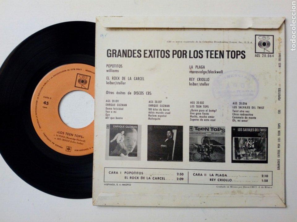 Discos de vinilo: EP - LOS TEEN TOPS - Popotitos + Rock de la cárcel + La plaga + Rey Criollo (CBS, 1963) - E. Guzman - Foto 2 - 183888145