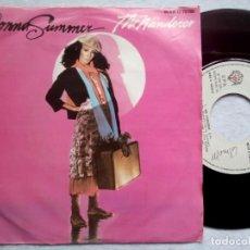 Discos de vinilo: DONNA SUMMER - THE WANDERER / STOP ME - SINGLE PORTUGUES 1980 - GEFFEN / WARNER. Lote 183991986