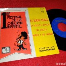 Discos de vinilo: CORO ESCUELAS AVEMARIANAS BURRO PERICO/ABEJITA MUSICAL +2 EP 1967 FESTIVAL CANCION INFANTIL. Lote 184000912