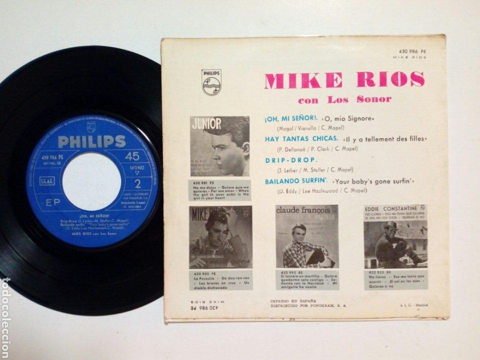 Discos de vinilo: EP: MIKE RIOS - Oh Mi Señor + Hay tantas Chicas + Drip Drop + Bailando Surfin (Philips, 1964) Miguel - Foto 2 - 183886077