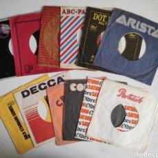 Discos de vinilo: FUNDAS SINGLE VINILO ORIGINALES USA. LOTE DE 13 FUNDAS. Lote 184106162