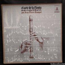 Discos de vinilo: EL ARTE DE LA FLAUTA DESDE EL SIGLO XVII AL XX ,,POR JEAN PIERRE RASPAL...CONTIENE 4 LPS. Lote 184122943