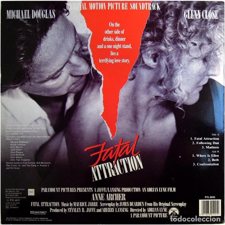 Discos de vinilo: Maurice Jarre - Fatal Attraction (BSO) - Lp UK 1987 - PRT Records PYL6035 - Foto 2 - 184139128