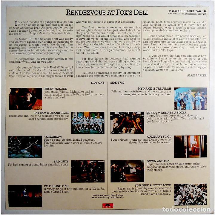 Discos de vinilo: Paul Williams - Bugsy Malone (BSO) - LP UK 1976 - Polydor 2442 142 - Foto 2 - 184145887