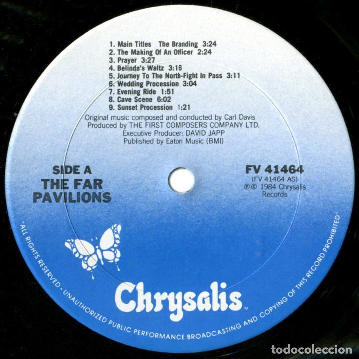 Discos de vinilo: Carl Davis - The Far Pavilions (BSO) - Lp US 1984 - Chrysalis FV 41464 - Foto 3 - 184142182