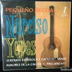 Discos de vinilo: DISCO SINGLE NARCISO YEPES, PEQUEÑO RECITAL, ZAFIRO. Lote 184165077
