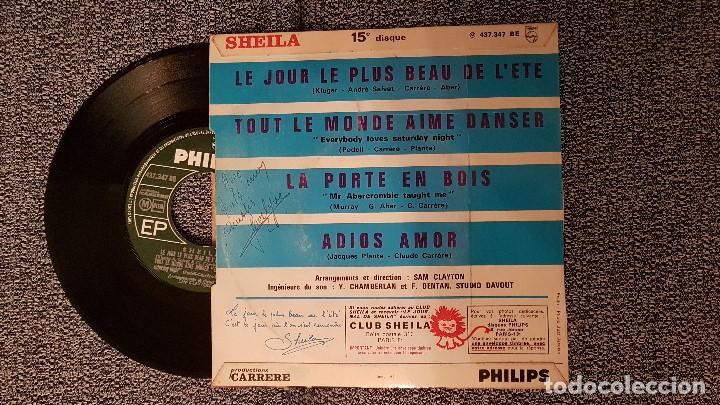 Discos de vinilo: Sheila - Adios amor. EP. Editado por Philps. Edición francesa. viene con dedicatoría de la artista. - Foto 2 - 184194090
