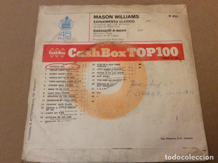 Discos de vinilo: MASON WILLIAMS. EXPERIMENTO CLASICO / BAROQUE A NOVA. Hispavox 1968. - Foto 2 - 184216281