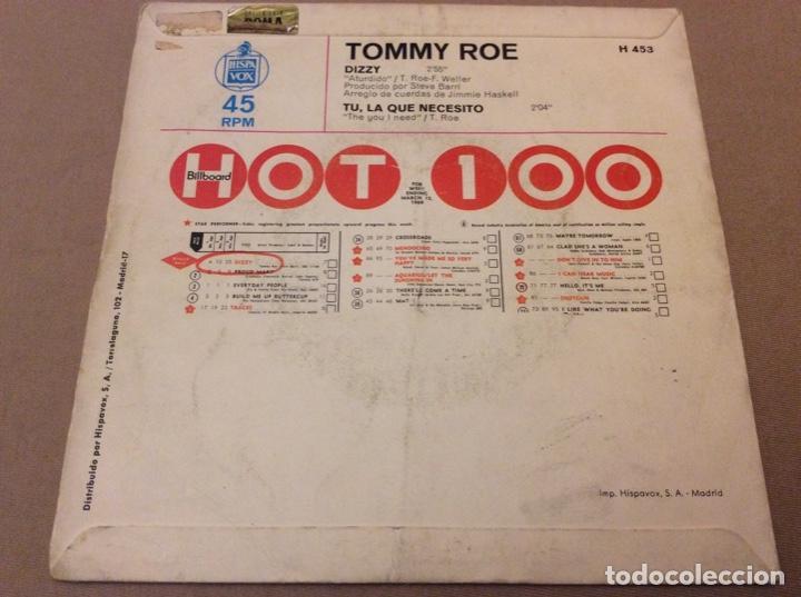 Discos de vinilo: TOMMY ROE. DIZZY / TÚ, LA QUE NECESITO. HISPAVOX, 1969 - Foto 2 - 184218185