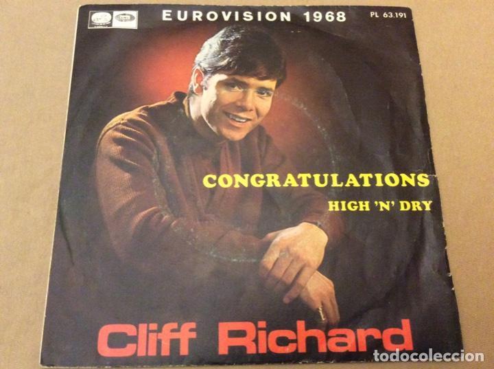CLIFF RICHARD. EUROVISIÓN 1968. CONGRATULATIONS - HIGH N'DRY. EMI 1968. (Música - Discos - Singles Vinilo - Pop - Rock Extranjero de los 50 y 60)