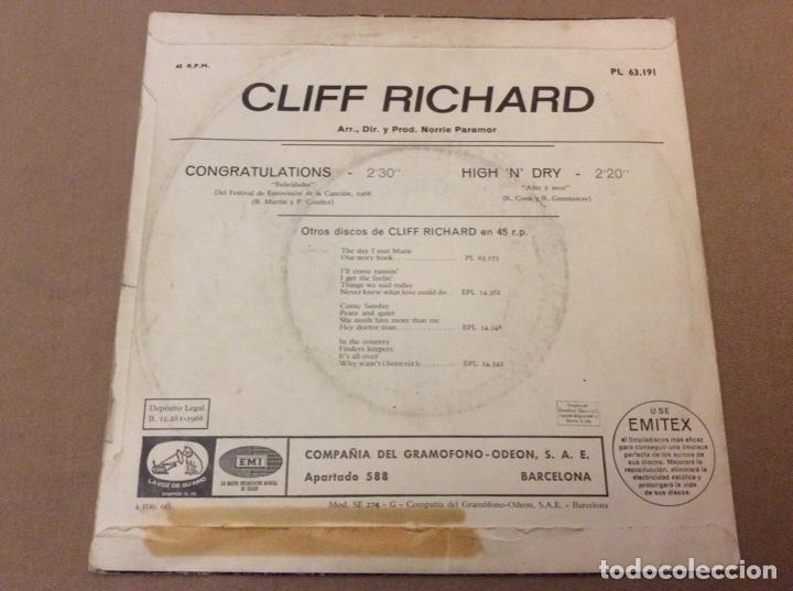 Discos de vinilo: CLIFF RICHARD. Eurovisión 1968. Congratulations - High ndry. EMI 1968. - Foto 2 - 184220202