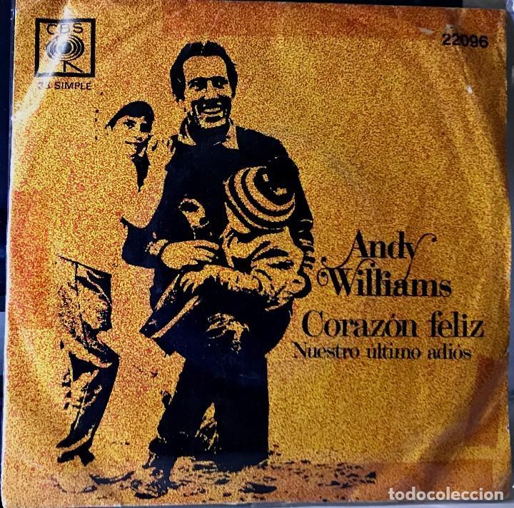 SENCILLO ARGENTINO DE ANDY WILLIAMS AÑO 1969 (Música - Discos - Singles Vinilo - Cantautores Internacionales)