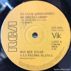 Discos de vinilo: SENCILLO ARGENTINO DE EL CLUB ADMIRADORES DE GRETA GARBO AÑO 1970. Lote 57684234