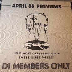 Discos de vinilo: APRIL 88 PREVIEWS..DJ MEMBERS ONLY..UK 1988. Lote 184288556