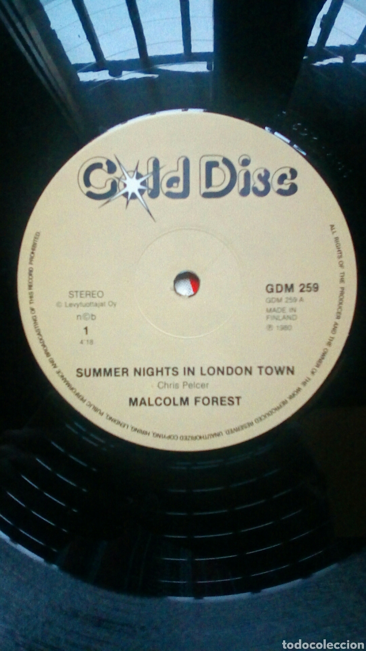 Discos de vinilo: Malcolm Forest - Summer nights in London town, Gold Disc, 1980. Finland. - Foto 4 - 184288623