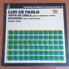 Discos de vinilo: LP LUIS DE PABLO & GRUPO KOAN - VISTO DE CERCA - MÚSICA CONTEMPORANEA N°18 (HISPAVOX, 1978). Lote 184353076