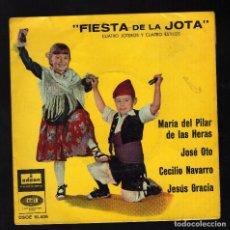 Discos de vinilo: FIESTA DE LA JOTA: 4 JOTEROS Y 4 ESTILOS - Mª DEL PILAR DE LAS HERAS / JOSÉ OTO / CECILIO NAVARRO /. Lote 204426088