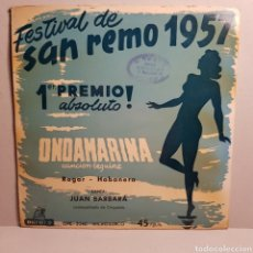 Discos de vinilo: FESTIVAL DE SAN REMO 1957 JUAN BARBARA ROGAR - HABANERA. Lote 184403016