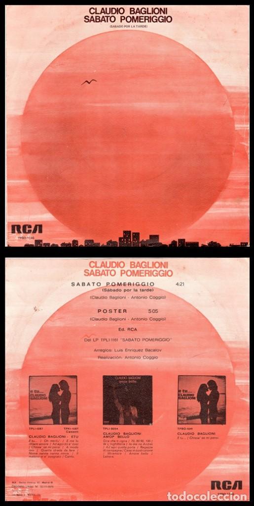 XX VINILO, CLAUDIO BAGLIONI, SABATO POMERIGGIO Y POSTER. (Música - Discos - Singles Vinilo - Cantautores Internacionales)