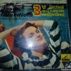 Discos de vinilo: DISCO EPE DE JOSÉ GUARDIOLA TERCER FESTIVAL DE LA CANCIÓN MEDITERRANEA 1961. Lote 184491776