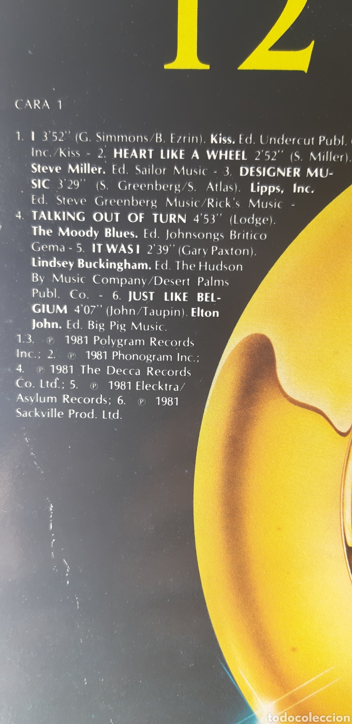 Discos de vinilo: UNICO!!?? LP Las 12. VARIOS ARTISTAS. STEVE MILLER, ELTON JONHS.MOODY BLUES, KISS, Azul y negro,,,, - Foto 3 - 184612085