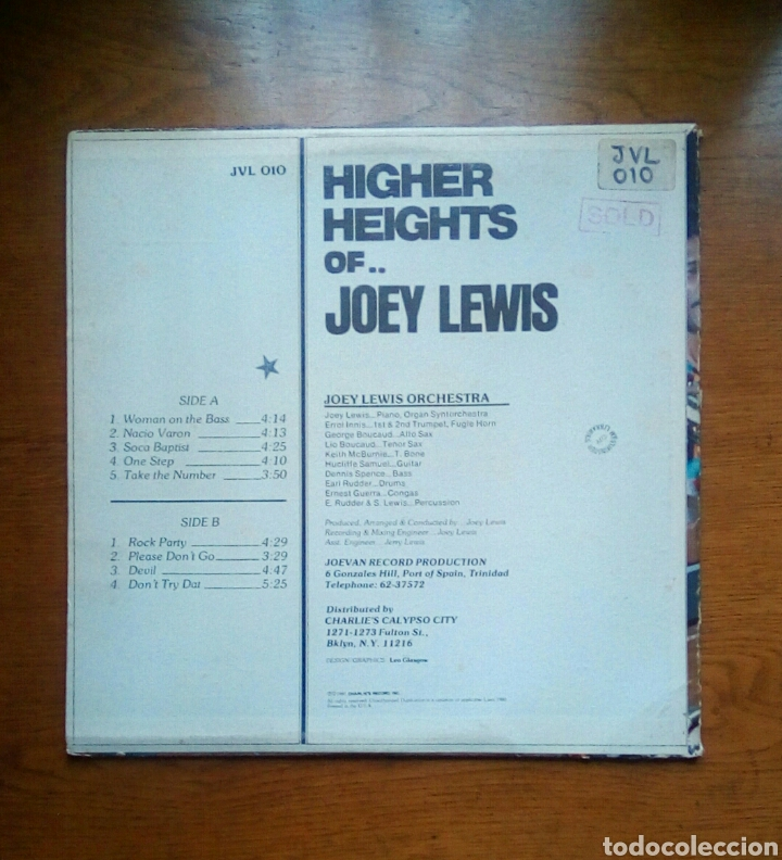 Discos de vinilo: Joey Lewis - Higher heights of Joey Lewis, Charlies Records, 1980. Trinidad & Tobago. - Foto 2 - 184630483