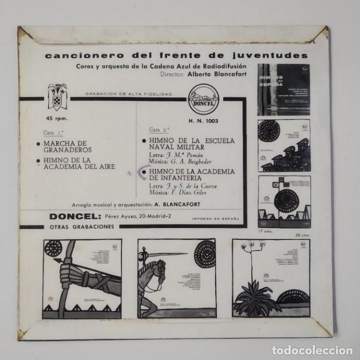 Discos de vinilo: CANCIONERO DEL FRENTE DE JUVENTUDES JUVENTUD ESPAÑOLA AÑO 1963 EP DONCEL HN 1003 JONS FALANGE OJE - Foto 2 - 184633202