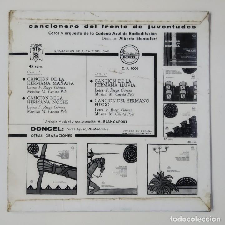 Discos de vinilo: CANCIONERO DEL FRENTE DE JUVENTUDES JUVENTUD ESPAÑOLA AÑO 1963 EP DONCEL HN 1006 JONS FALANGE OJE - Foto 2 - 184633375