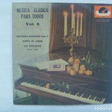 Discos de vinilo: MUSICA CLASICA PARA TODOS, VOL. 3: RAPSODIA HUNGARA, SUEÑO DE AMOR, PRELUDIOS LISTZ. POLYDOR , 1962. Lote 184661977