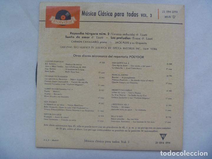 Discos de vinilo: MUSICA CLASICA PARA TODOS, VOL. 3: RAPSODIA HUNGARA, SUEÑO DE AMOR, PRELUDIOS LISTZ. POLYDOR , 1962 - Foto 2 - 184661977