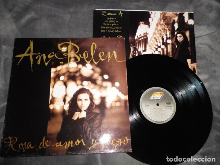 ANA BELEN ROSA DE AMOR Y FUEGO LP VINILO 1989 CON ENCARTE LIA JOSE MARIA CANO PANCHO VARONA 10 TEMAS (Música - Discos - LP Vinilo - Solistas Españoles de los 70 a la actualidad)